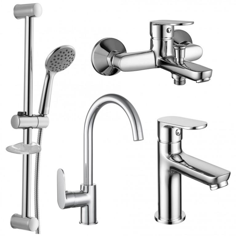 Набор смесителей LASKA  (4 в 1) для ванны и кухни