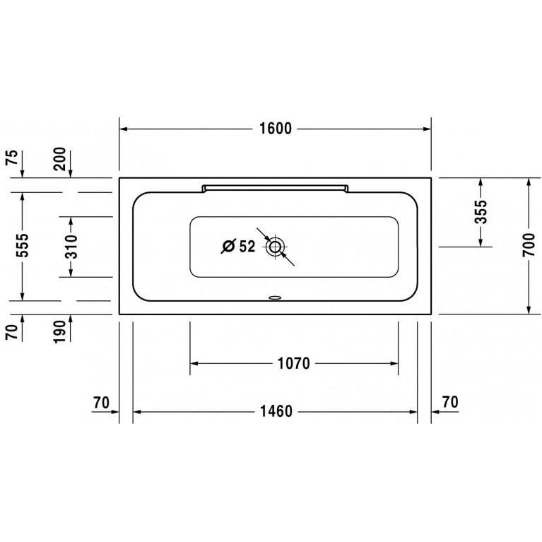 DURASTYLE ванна 160*70*46см, встраиваемая версия или версия с панелями, с наклоном для спины слева 700292000000000, фото 3