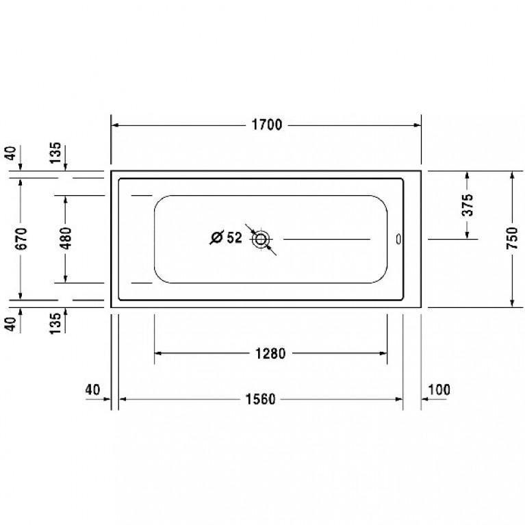 DURASTYLE ванна 170*75*34см, встраиваемая версия или версия с панелями 700231000000000, фото 3