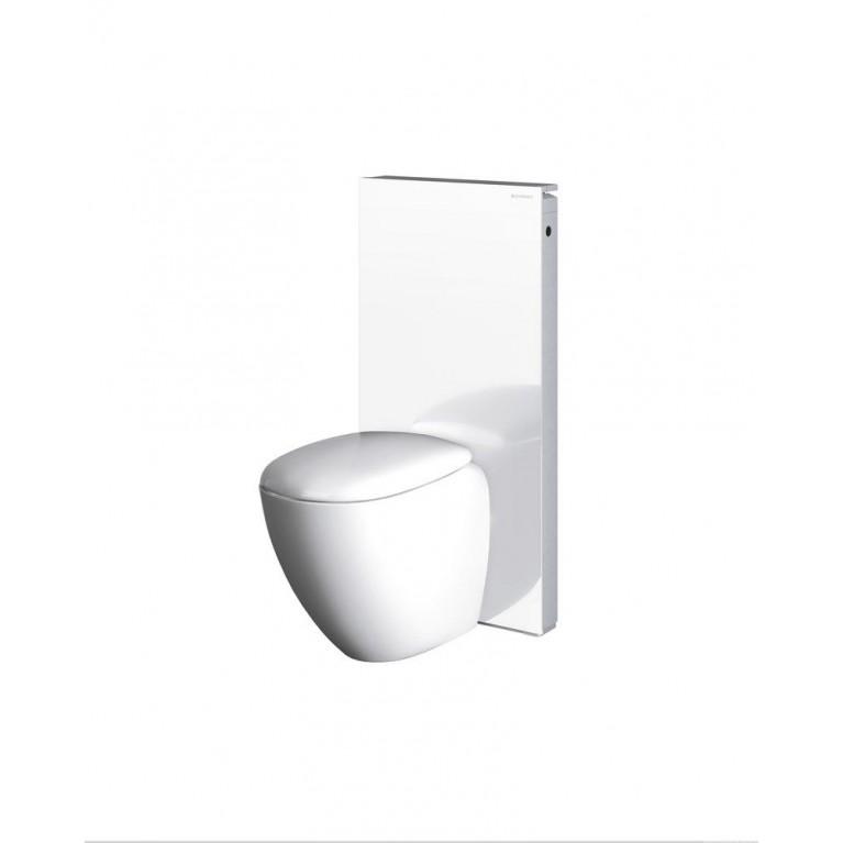 Geberit Monolith Монтажный элемент для напольного унитаза, белое стекло алюминий, высота 114 см