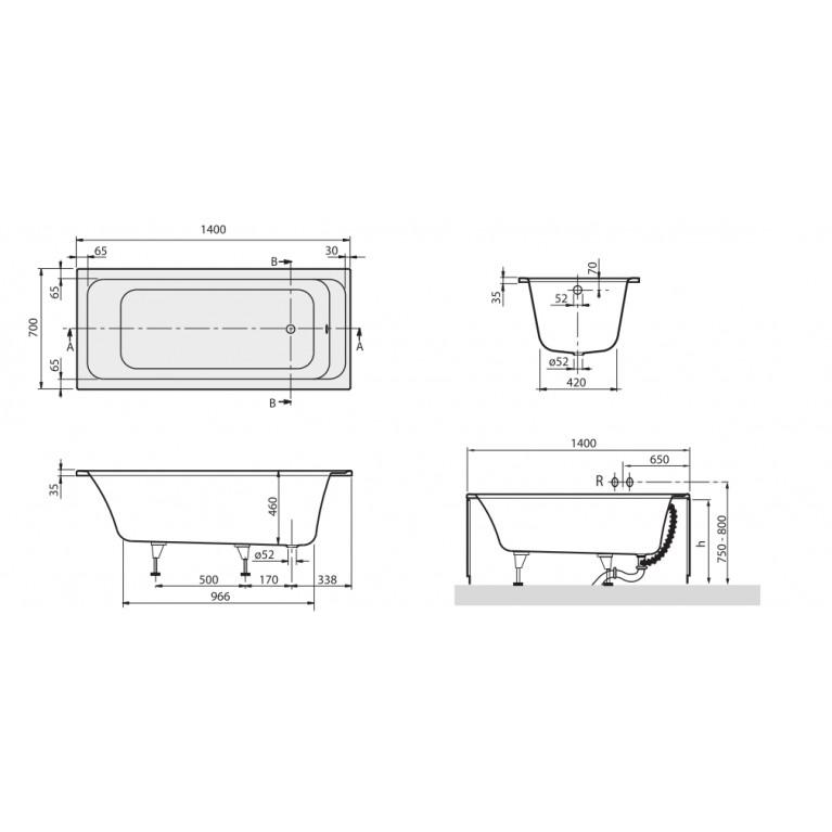 ARCHITECTURA ванна 140*70см, фото 2