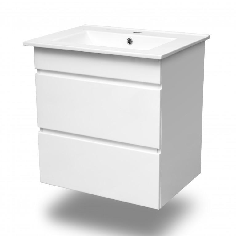 FIESTA Комплект мебели 800: тумба подвесная белая (2 ящика) + умывальник накладной