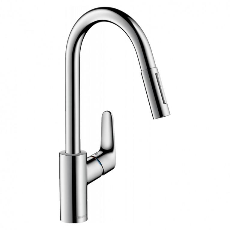 Смеситель для кухни,FOCUS M41,  однорычажный 240, с вытяжным душем, 2jet, sBox, хром