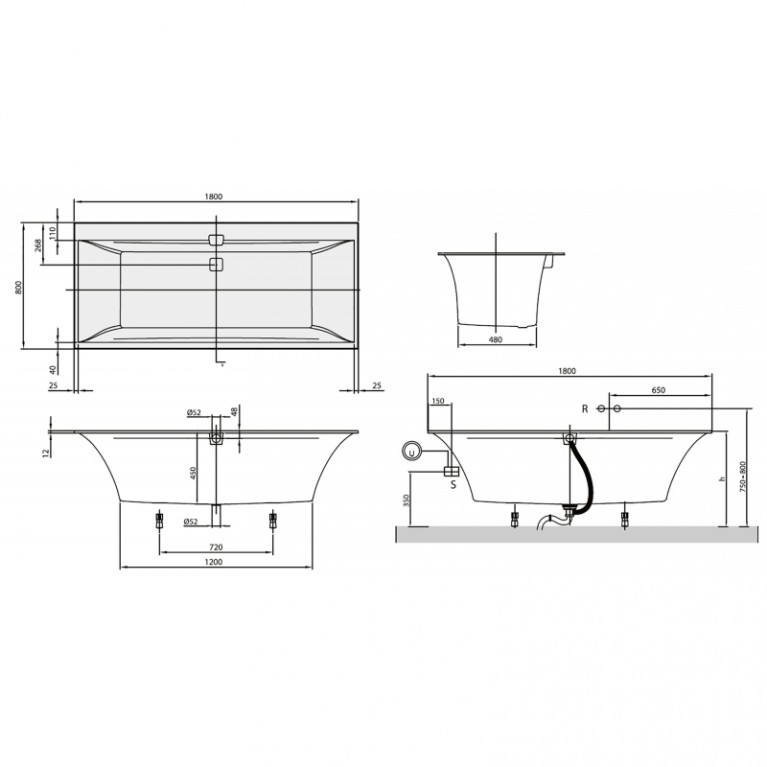 SQUARO EDGE 12 ванна 180*80см, с ножками и сливом-переливом, цвет white alpin UBQ180SQE2DV-01, фото 2