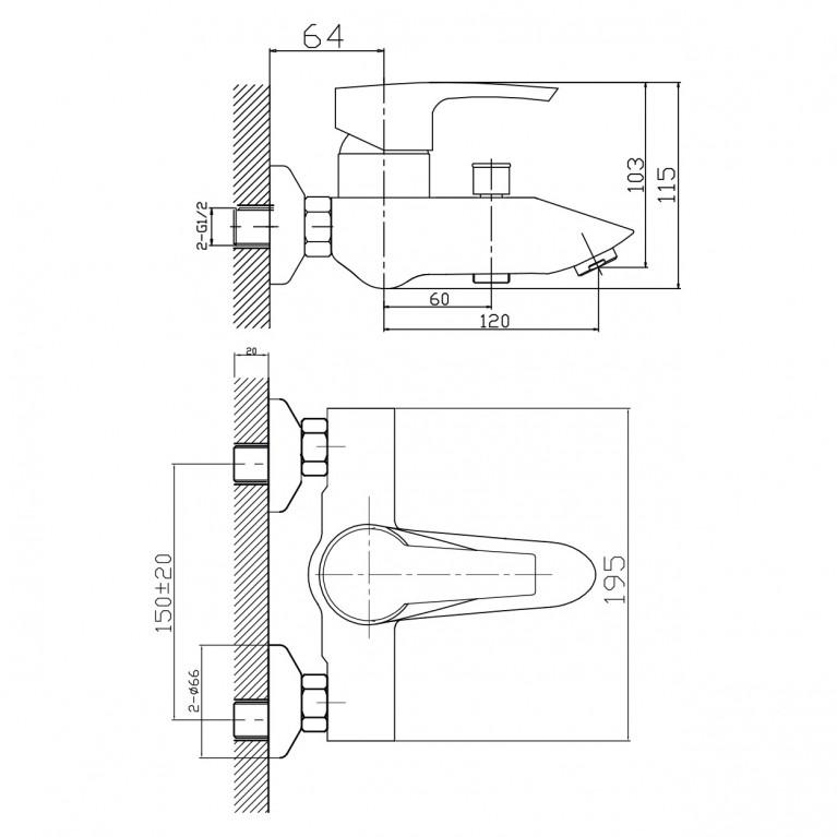HORAK смеситель для ванны, хром, 40 мм 10170