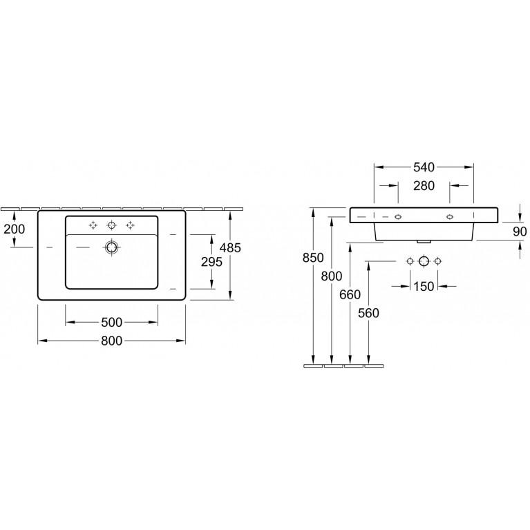 ARCHITECTURA умывальник 80*48,5см для установки на тумбу 61168001, фото 2