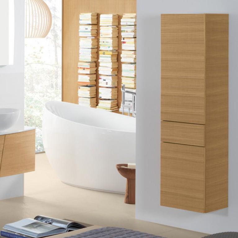 AVEO NEW GENERATION шкаф-пенал 40*153*35см, подвесной, петли справа, цвет Pure Oak, фото 3