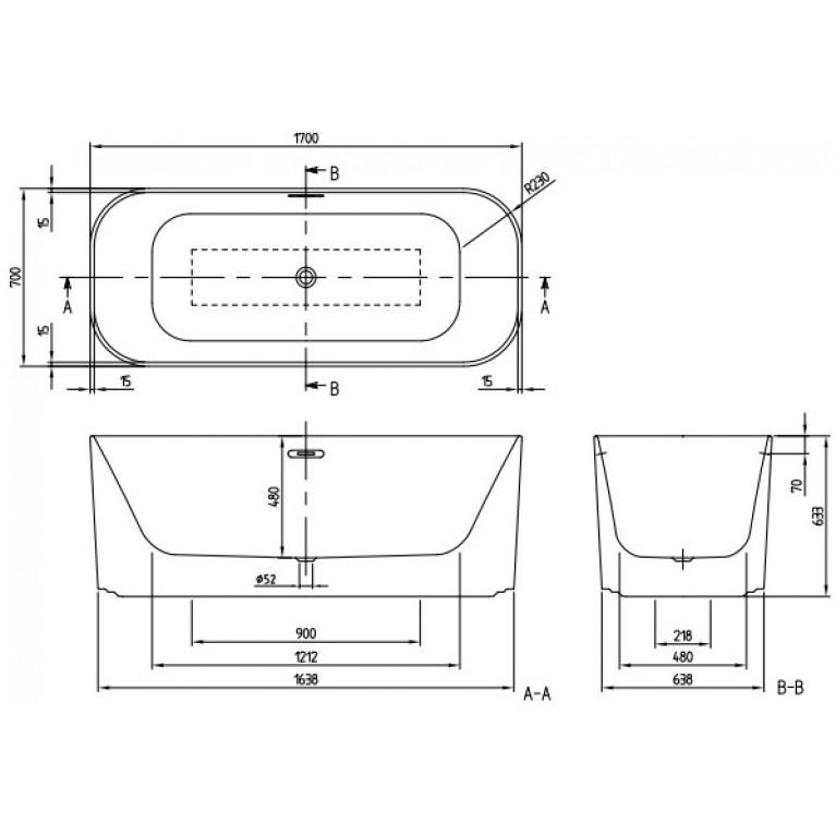 FINION ванна 170*70см, бесшовная,  отдельностоящая, оснащение хром, ф-я Emotion, Design ring, цвет ванны - белый альпин, фото 5