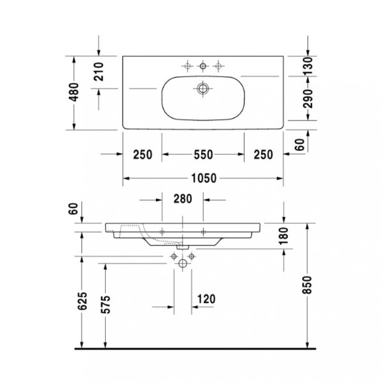 D-CODE умывальник 105*48см, мебельний 03421000002