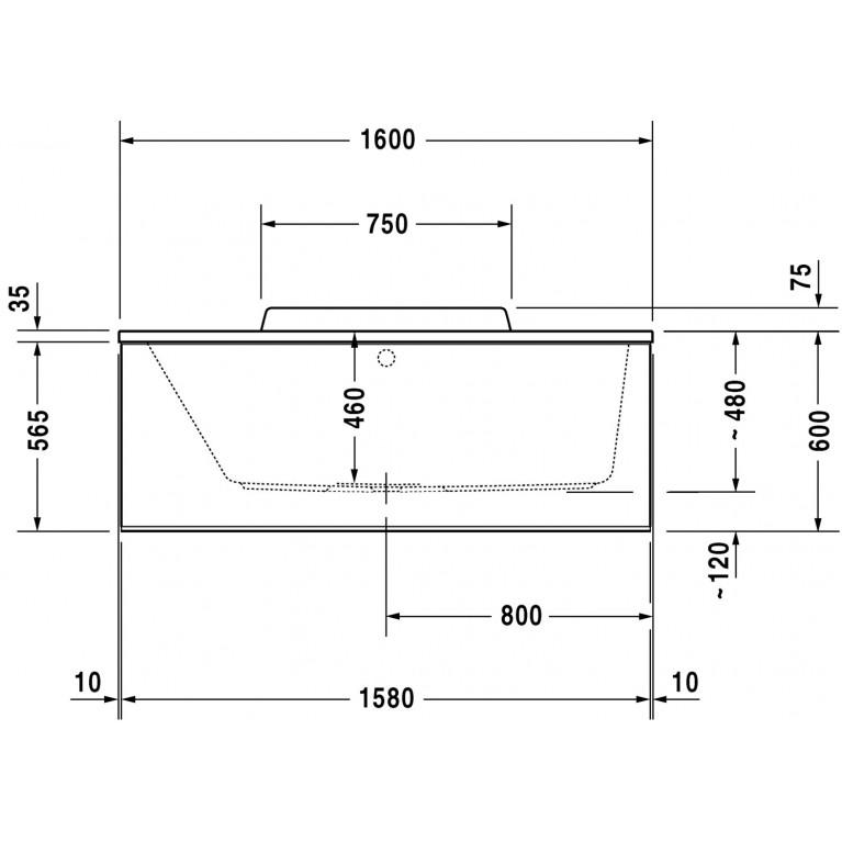DURASTYLE ванна 160*70*46см, встраиваемая версия или версия с панелями, с наклоном для спины слева 700292000000000, фото 4