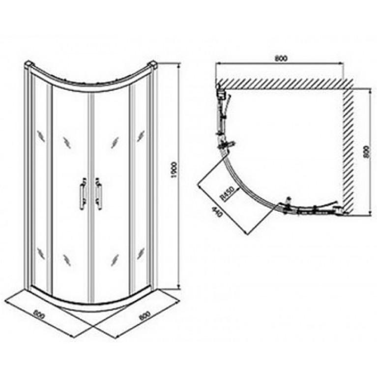 GEO 6 кабина полукруглая 80*80 см, двери раздвижные, закаленное стекло, серебряный блеск , часть 1/2 GKPG80222003A, фото 2