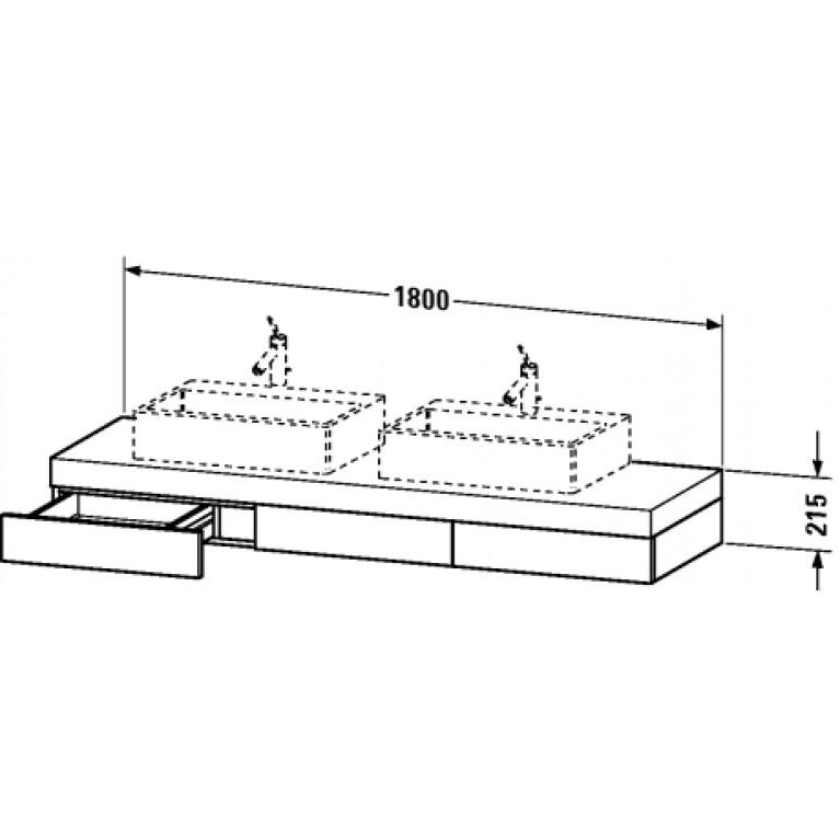 FOGO консоль 180*55см, включая 3 выдвижных ящика, с 2мя вырезами под раковины, цвет американский орех (13), фото 2