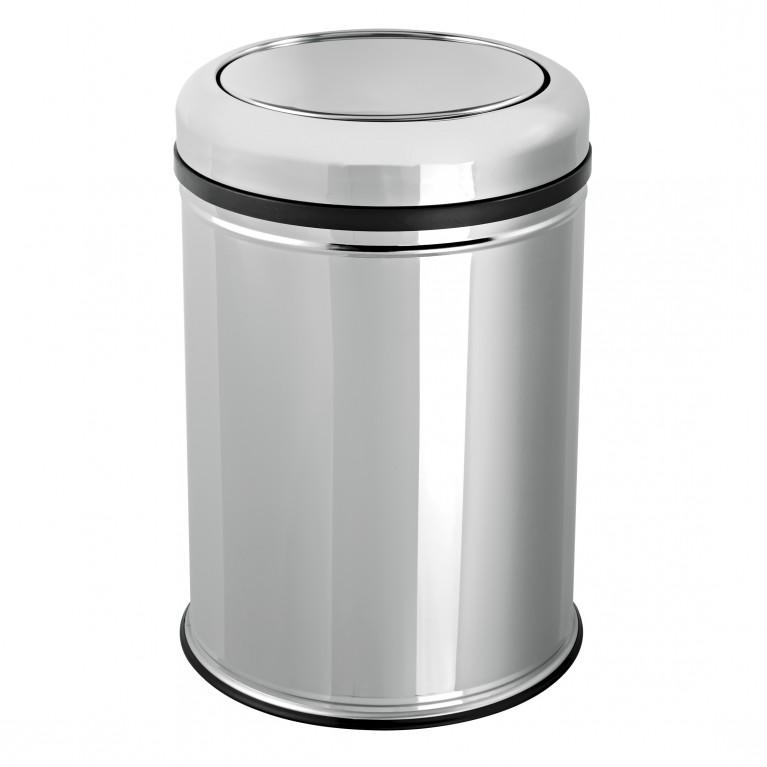 Ведро для мусора с крышкой-перевертыш 8л, хром