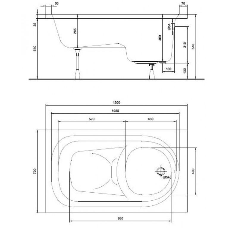 DIUNA ванна прямоугольная 120*70 см, белая, с ножками SN7 XWP3120000, фото 2