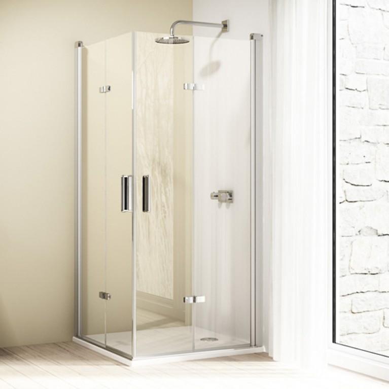 DESIGN ELEGANCE дверь распашная складывающаяся 90*190см (проф мат серебро,стекло прозр), фото 1