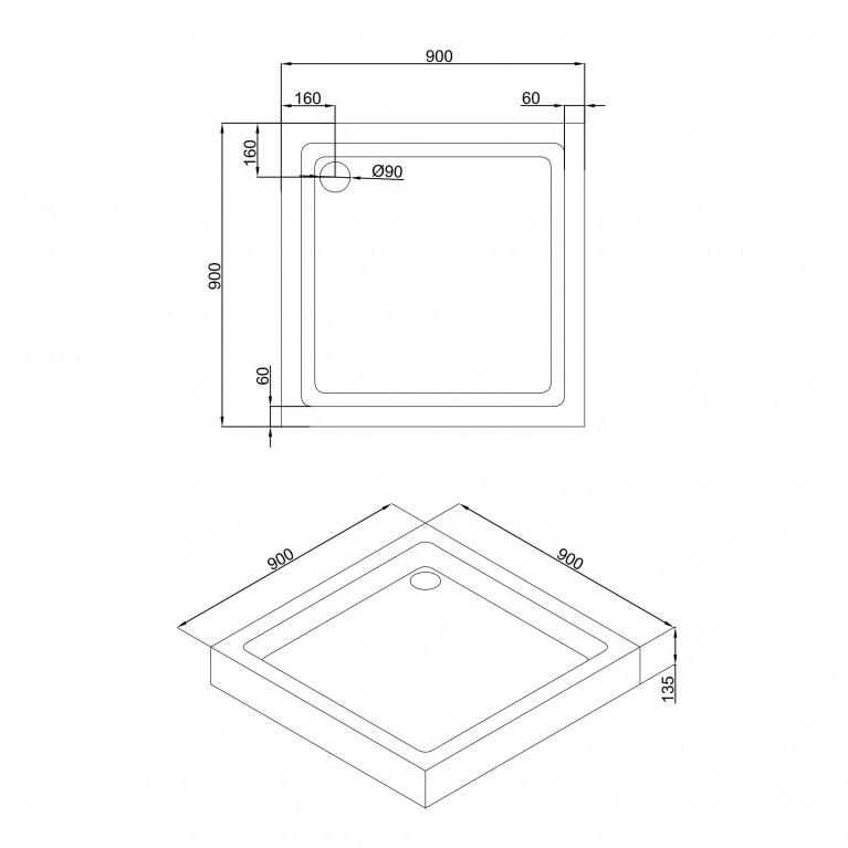 A LÁNY Душевая кабина квадратная 900*900*2085(на поддоне 135 мм) двери раздвижные, стекло прозрачное  6 мм, профиль черный 599-551 Black, фото 4