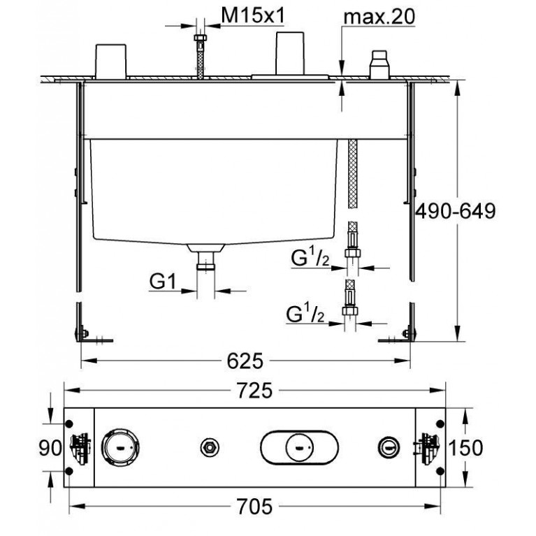 Chiara Термостат для ванны, для скрытого монтажа на 4 отверстия 34086000, фото 2