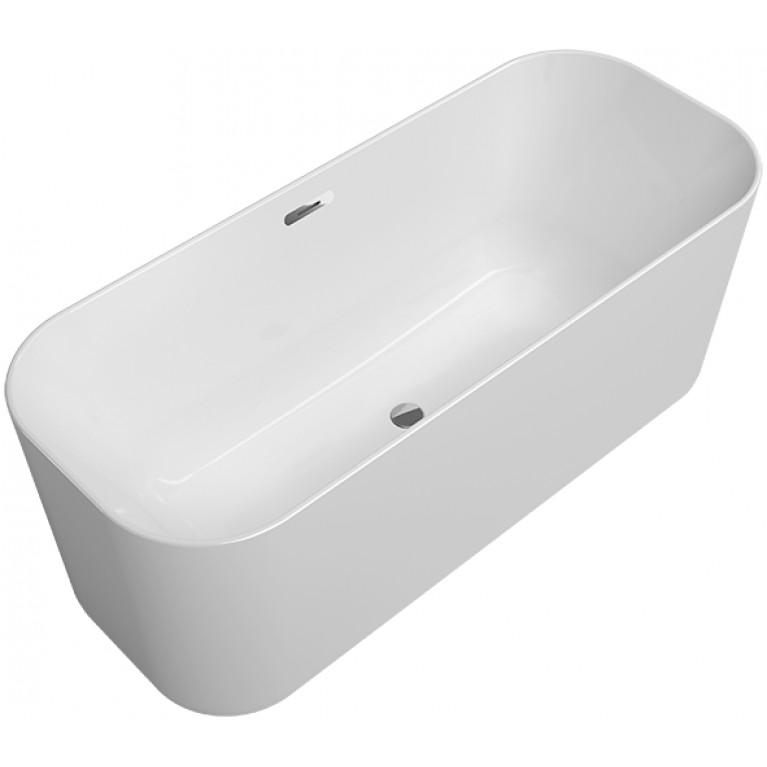 FINION ванна 170*70 бесшовная, отдельностоящая, вмонтированный клапан push-to-open, перелив, оснащение - хром, цвет - Star White, фото 1