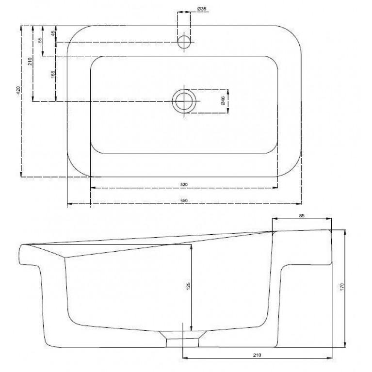 COCKTAIL умывальник встраиваемый в столешницу с отверстием, без перелива 65*42 см (пол.) L31866000, фото 2