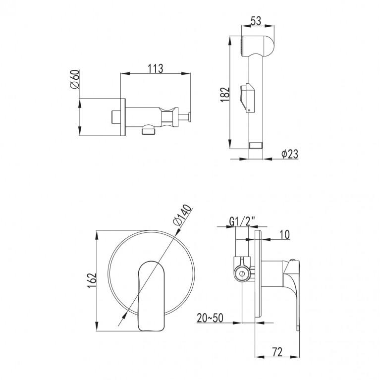 BILINA  набор (смеситель скрытого монтажа с гигиеническим душем) VR30225Z-BT, фото 2