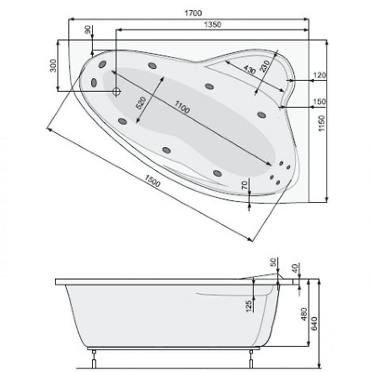 EUROPA ASYM ванна   170*115 правая + ножки PWAD110ZN000000, фото 2