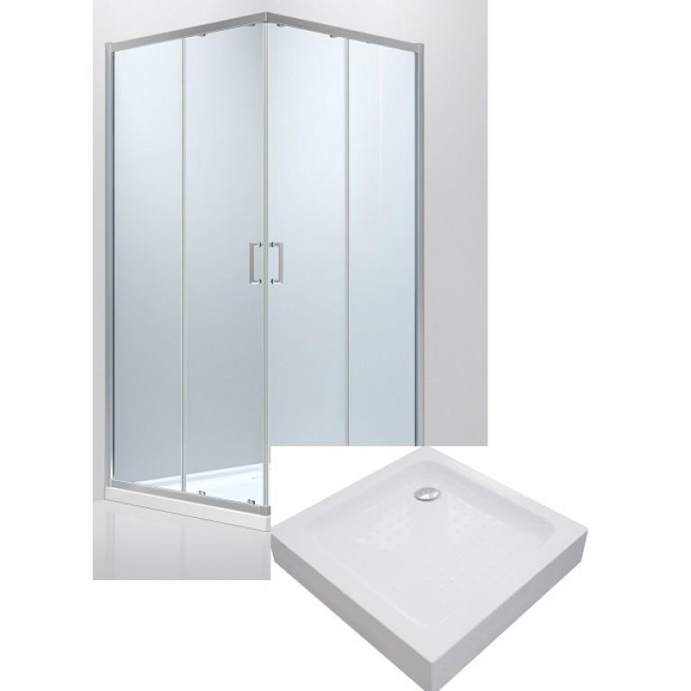Купить HÉVÍZ Душ. кабина квадратная 90(стекла+двери) раздвижная, хром+Поддон квадратный 90,с сифоном у официального дилера EGER в Украине