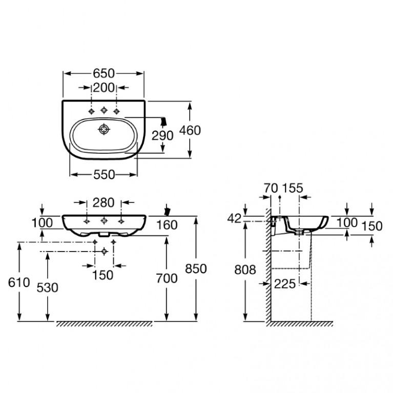 MERIDIAN-N умывальник 650*460 (в упаковке) A327241000
