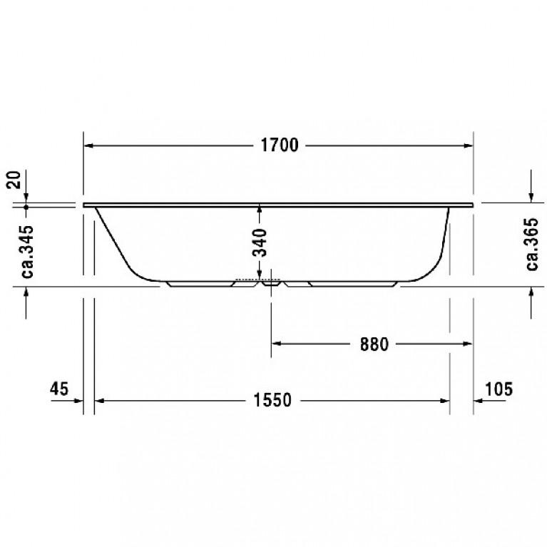 DURASTYLE ванна 170*75*34см, встраиваемая версия или версия с панелями 700231000000000, фото 2