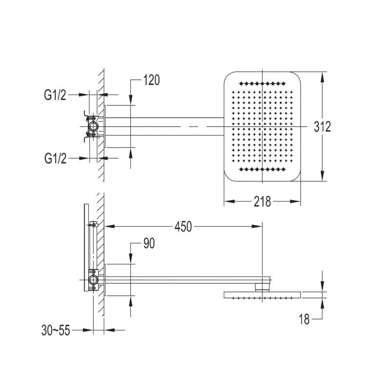 SMART CLICK набор (верхний душ 2 функции +держатель), хром ZMK101901101, фото 2