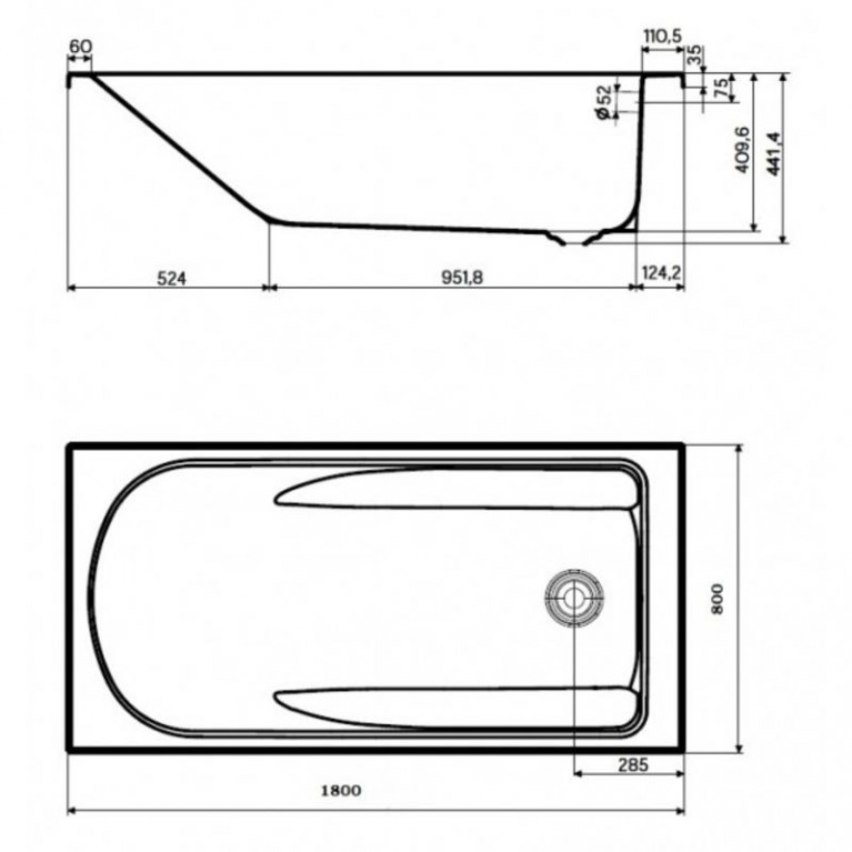 COMFORT PLUS ванна 180*80см с ручками (037376)без панели ( гидром. система эконом) HE1481000, фото 2