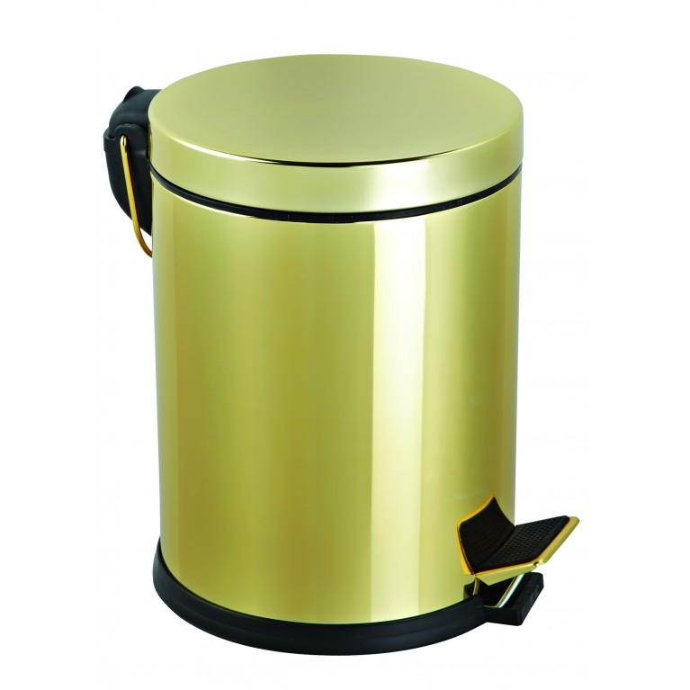 Ведро для мусора + ершик для унитаза, цвет золото
