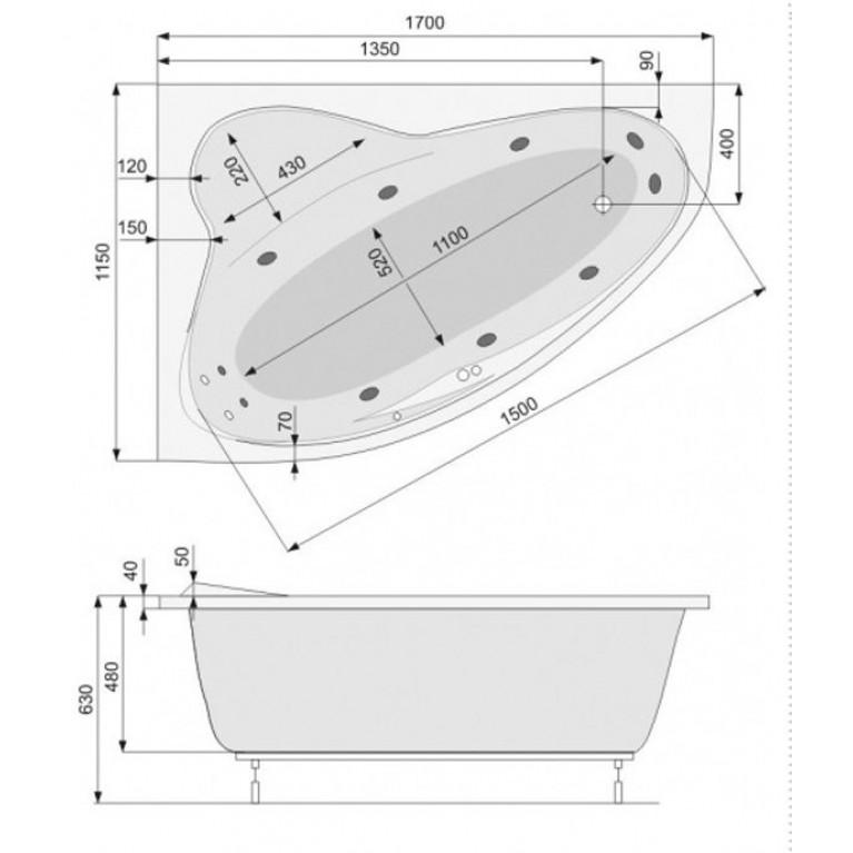 EUROPA ванна  170*115 левая + рама, фото 2
