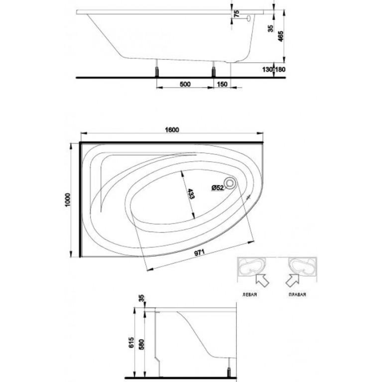 SPRING ванна асимметричная 160*100 см, левая, белая, с ножками SN7 XWA3061000, фото 2