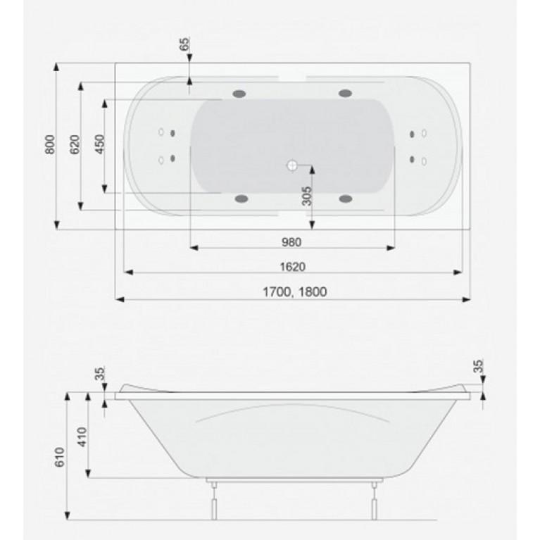 GEMINI ванна  170*80 +ноги PWPD810ZN000000, фото 2