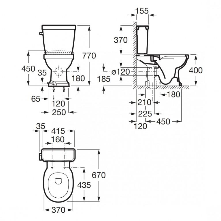 CARMEN чаша комбинированного унитаза, Rimless, выпуск универсальный, монтируется на полу A3420A7000, фото 2