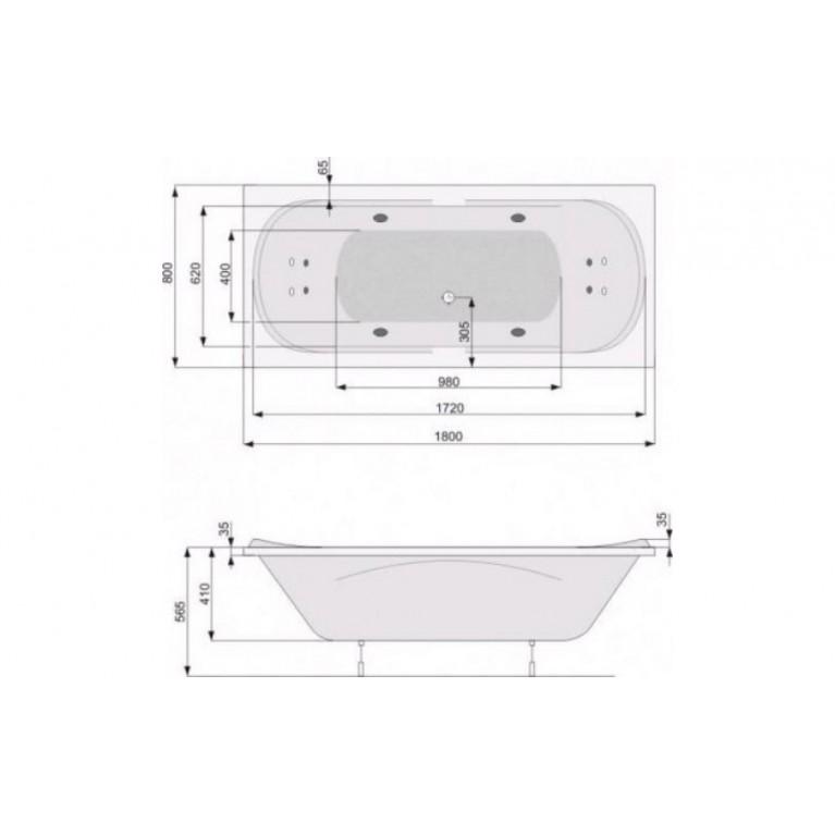 GEMINI ванна 180*80+система Economy 2 стандарт PHPD910SO2C0000, фото 2