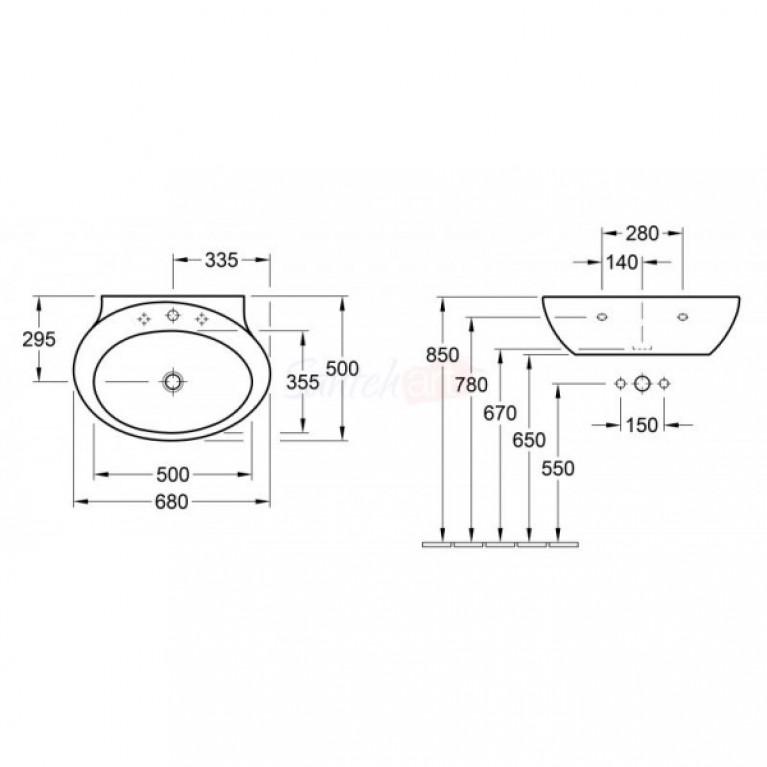 AVEO NEW GENERATION умывальник 68*50см для 3-позиц. смесителя, центр. отверст. выбито, White Alpin CeramicPlus 413070R1, фото 2