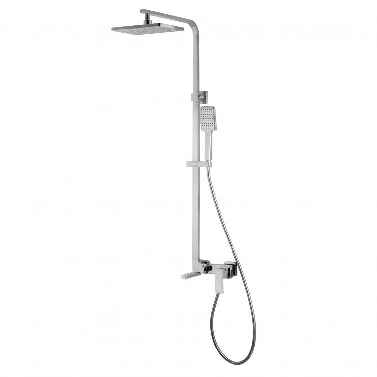 LEON система душевая (смеситель для ванны, верхний и ручной душ 1 режим, шланг полимер 1,5м)
