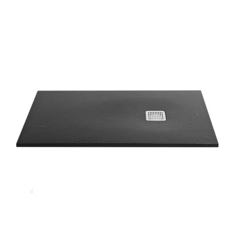 TERRAN поддон 200*100*3,1см, из искусств. камня STONEX, прямоугольный, с трапом и сифоном в комплекте, цвет черный