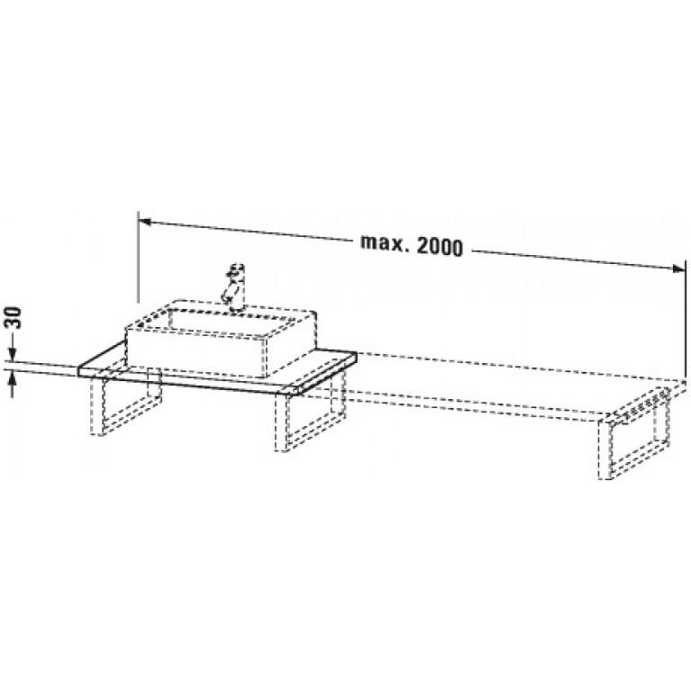 DURAVIT консоль 60*55см, для накладных раковин и встраиваемых умывальников, с 1м вырезом под раковину, белый глянец (22) UV 106C 22, фото 2