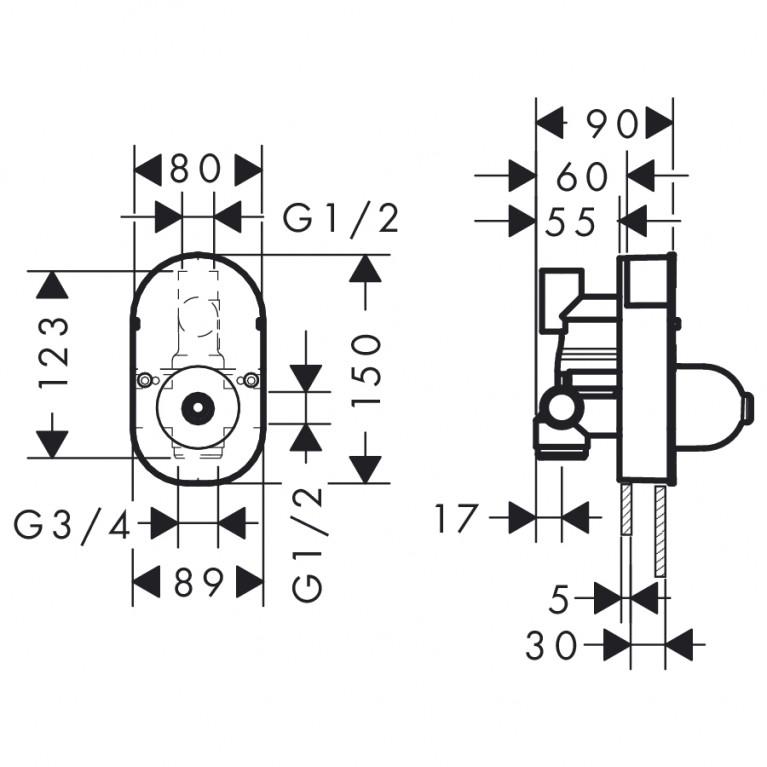 Focus S Скрытая часть смесителя для 31746000 31741180