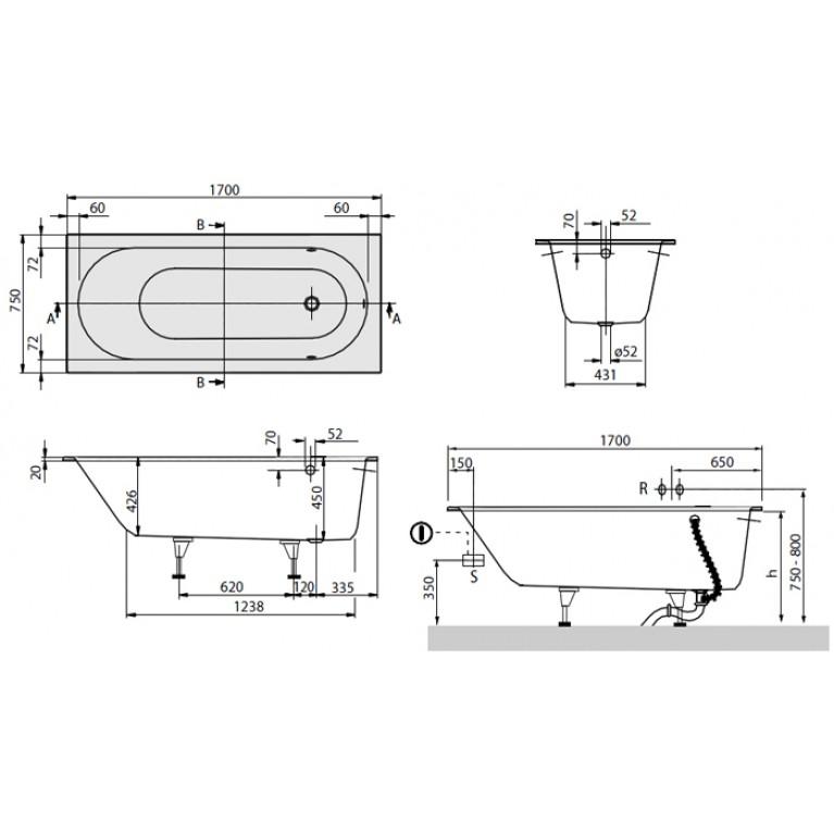 OBERON ванна 170*75 см в комплекте с ножками UBQ170OBE2V-01