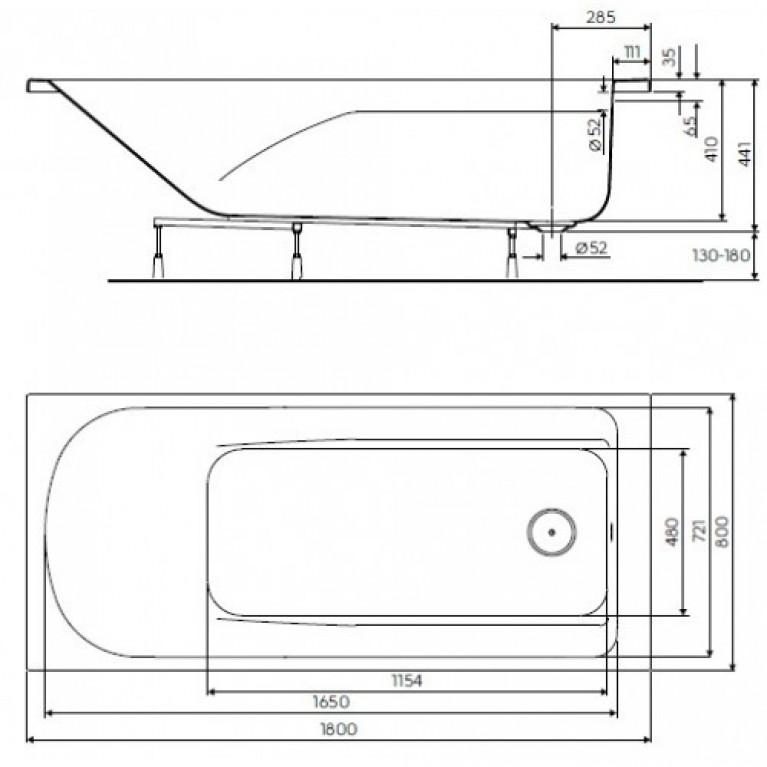 COMFORT PLUS ванна 180*80см, прямоугольная, с ножками XWP1480000, фото 2