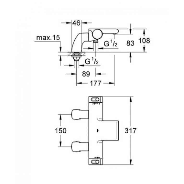 Grohtherm 2000 термостат для ванны 34176001, фото 2