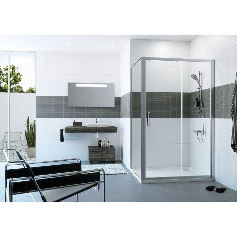 CLASSICS2 4-угольная односекц. раздвижная дверь с неподвижным сегм. 200*100 см, профиль сер. с ярк.блеском, стекло прозр. с Anti-Plaque C20408069322, фото 2