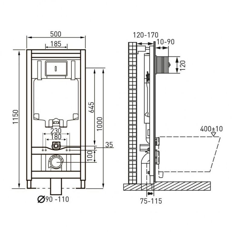 Комплект: MARO унитаз подвесной, сиденье мягкое(492*354*400мм)+Комплект инсталляции 13-52-321+141919
