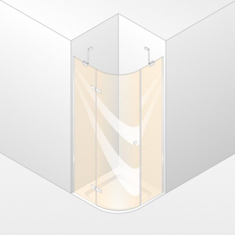 ENJOY ELEGANCE дверь распашная с непод сегм 100*100*200см (проф гл хром,стекло прозр) ручка Comfort,установка на пол, фото 1