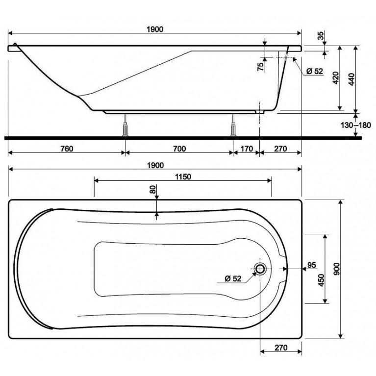 COMFORT ванна прямоугольная 190*90 см XWP309000G, фото 3