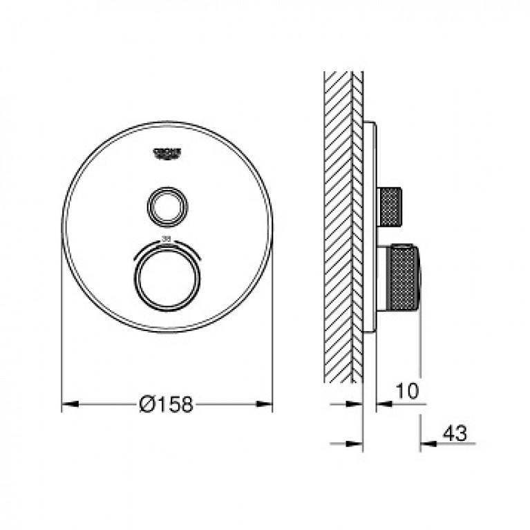 SmartControl Смеситель для душа, внешняя часть, на 1 выход, хром 29118000, фото 2