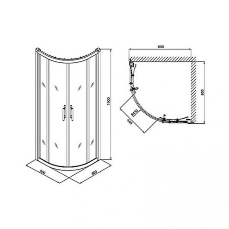GEO 6 кабина полукруглая 80*80 см , (1/2 и 2/2) двери раздвижные, стекло PRISMATIC GKPG80205003, фото 3